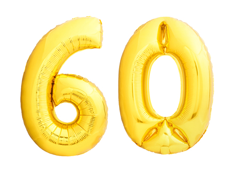 Golden number 60 sixty made of inflatable balloon isolated on white background