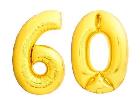 Número de oro 60 sesenta hecho de globo inflable aislado sobre fondo blanco Foto de archivo - 88645050