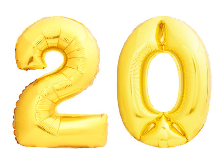 Golden number 20 twenty made of inflatable balloon isolated on white background