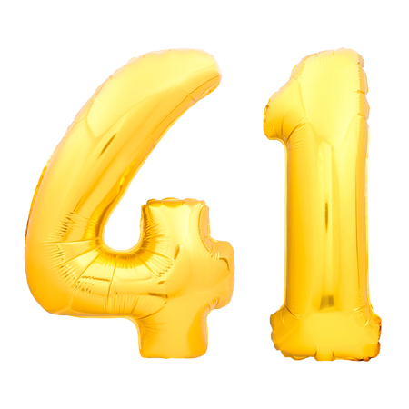 Golden number 41 fourty one made of inflatable balloon isolated on white background Stock Photo