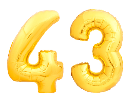 Golden number 43 fourty three made of inflatable balloon isolated on white background