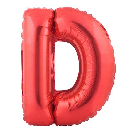 Red letter D made of inflatable balloon isolated on white background