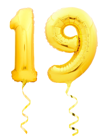Golden number 19 nineteen made of inflatable balloon with golden ribbon isolated on white background