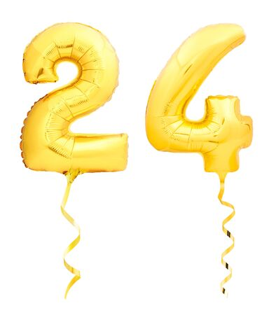 Golden number 24 twenty four made of inflatable balloon with golden ribbon isolated on white background Stock Photo