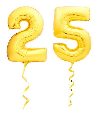 Golden number 25 twenty five made of inflatable balloon with golden ribbon isolated on white background