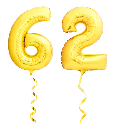 Golden number sixty two 62 made of inflatable balloon with golden ribbon isolated on white background Stock Photo