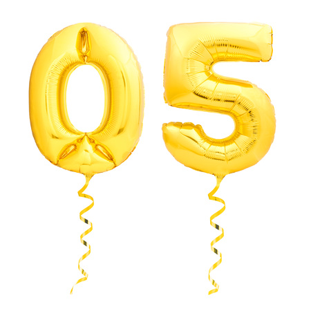Golden number 05 made of inflatable party balloons with golden ribbons isolated on white background. Zero five anniversary sign for holiday, celebration, birthday or Christmas