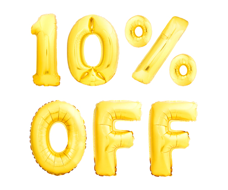 Ten percent off discount. Golden inflatable balloons isolated on white background