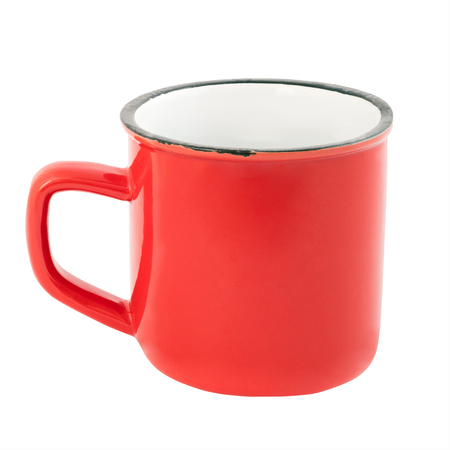 Red blank enamel mug isolated on white background Stock Photo