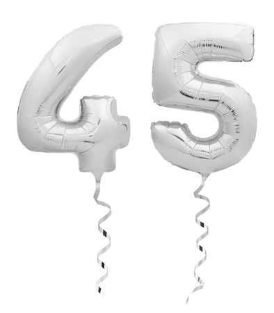 Silver chrome number forty five 45 made of inflatable balloon with silver ribbon isolated on white background