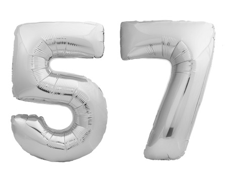 Silver chrome number 57 fifty seven made of inflatable balloon isolated on white background Stock Photo