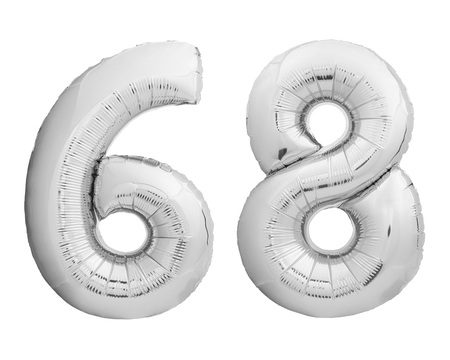 Silver chrome number 68 sixty eight made of inflatable balloon isolated on white background Reklamní fotografie