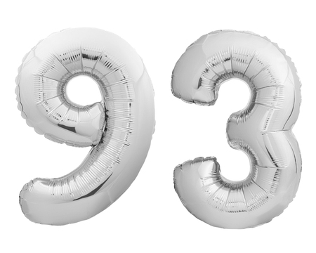 Silver chrome number number 93 ninety three made of inflatable balloon isolated on white background