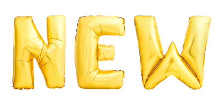 Golden sign NEW made of golden inflatable balloons isolated on white background Stock Photo