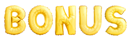 Bonus word made of inflatable balloon isolated on white background Stok Fotoğraf
