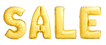 SALE word made of golden inflatable balloons isolated on white background