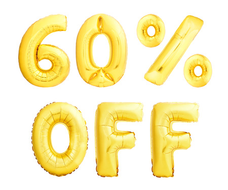 Sixty percent off discount sign made of golden inflatable balloons isolated on white background. 60 OFF sign