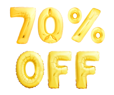 Seventy percent off discount sign made of golden inflatable balloons isolated on white background. 70 OFF sign