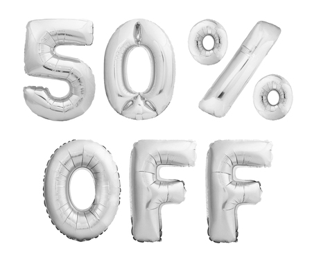 Firty percent off discount. Silver chrome balloons isolated on white background