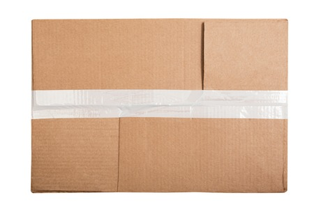 Top view of rectangular cardboard box with a sticky tape isolated on white background