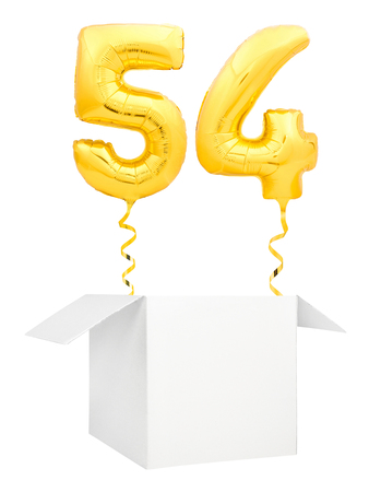 Golden number fifty four inflatable balloon with golden ribbon flying out of blank white box isolated on white background. Birthday concept.