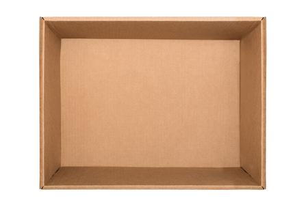 Boîte en carton vide isolé sur fond blanc. Vue de dessus