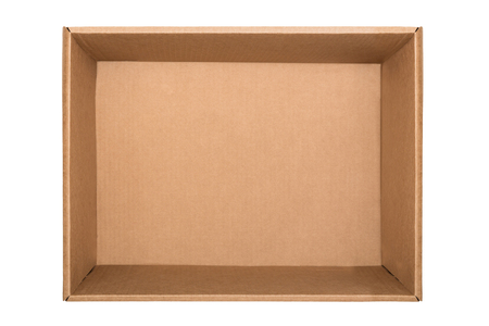 Empty cardboard box isolated on white background. Top view