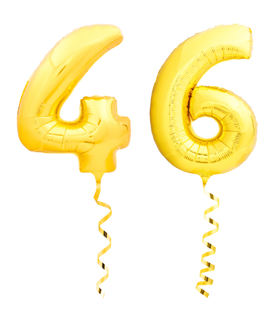 Golden number forty six 46 made of inflatable balloon with golden ribbon isolated on white background Stok Fotoğraf