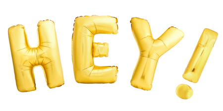Hey alert or shout out concept made of inflatable balloons isolated on white background 写真素材