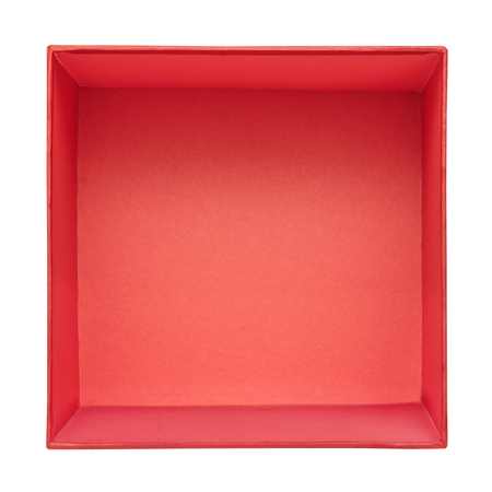 Flat lay of empty red gift box isolated on white background. Red cardboard box template. Top view