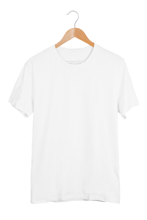 Blank white t-shirt on wooden hanger isolated on white background. White tshirt mockup template Imagens