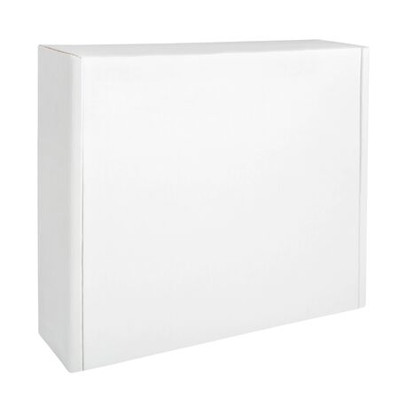White thin cardboard box isolated on white background. Blank box packaging mockup. Front view