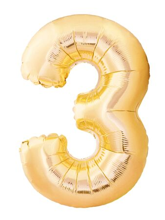 Number 3 three made of golden inflatable balloon isolated on white background. Helium balloon three 3 number. Discount and sale or birthday concept