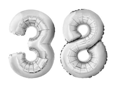 Number 38 thirty eight made of silver inflatable balloons isolated on white background. Chrome silver helium balloons forming 38 thirty eight. Birthday concept Stok Fotoğraf