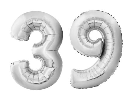 Number 39 thirty nine made of silver inflatable balloons isolated on white background. Chrome silver helium balloons forming 39 thirty nine. Birthday concept Stok Fotoğraf