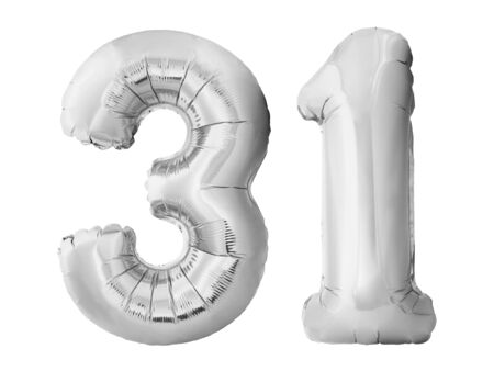Number 31 thirty one made of silver inflatable balloons isolated on white background. Chrome silver balloons forming 31 thirty one. Birthday concept Stok Fotoğraf