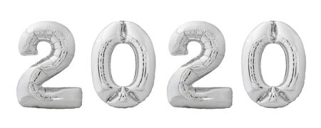 Christmas helium balloons 2020 made of silver chrome inflatable balloons isolated on white background. 2020 number for Happy New Year 2020