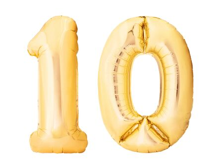 Number 10 ten made of golden inflatable balloons isolated on white background. Helium balloons ten 10 number. Discount and sale or birthday concept