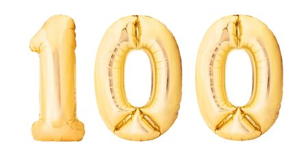 Number 100 one hundred made of golden inflatable balloons isolated on white background. Helium balloons 100 one hundred number Фото со стока