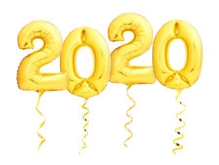 Golden New Year 2020 made of helium party balloons with golden ribbons isolated on white background. Happy New Year 2020 party concept Stock Photo