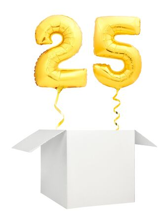 Golden number twenty five inflatable balloon with golden ribbon flying out of blank white box isolated on white background