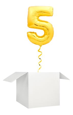 Golden number five inflatable balloon with golden ribbon flying out of blank white box isolated on white background