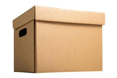 Cardboard archive storage box isolated on white background. Brown blank box for transfer storage
