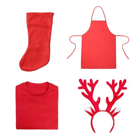 Set of Christmas objects including antlers of a deer headband, red folded t-shirt, red apron, red Christmas sock isolated on white background