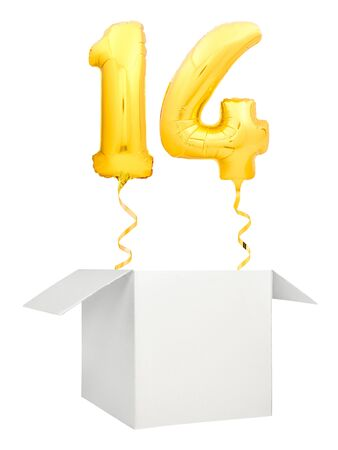 Golden number fourteen inflatable balloon with golden ribbon flying out of blank white box isolated on white background