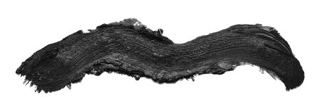 Abstract curved black paint stroke isolated on white background Stock Photo