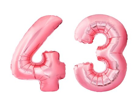 Number 43 forty three made of rose gold inflatable balloons isolated on white background. Pink helium balloons forming 43 forty three number