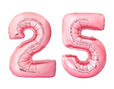 Number 25 twenty five made of rose gold inflatable balloons isolated on white background. Pink helium balloons forming 25 twenty five number
