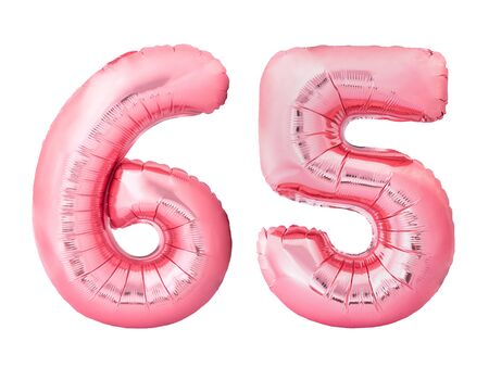 Number 65 sixty five made of rose gold inflatable balloons isolated on white background. Pink helium balloons forming 65 sixty five number
