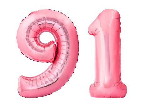 Number 91 ninety one made of rose gold inflatable balloons isolated on white background. Pink helium balloons forming 91 ninety one number Stock Photo